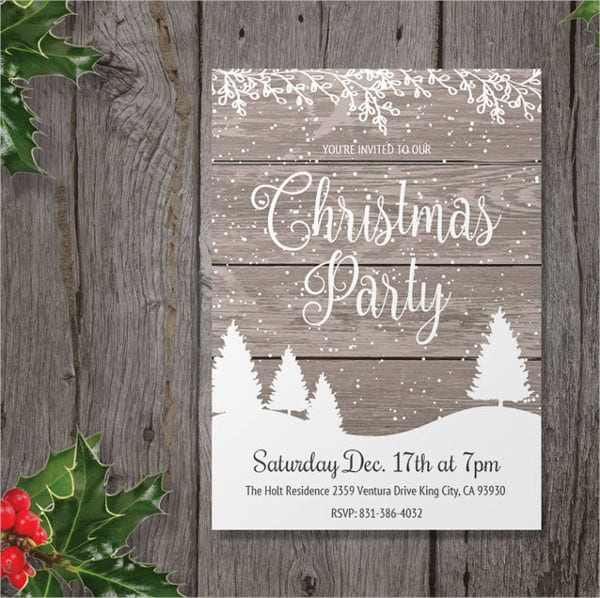 Rustic Christmas Party Invitation Template