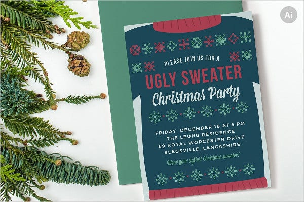 Christmas Party Invitation Templates Christmas Party Invitation - Ugly sweater christmas party invitations template