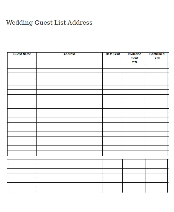 Wedding Guest List Address Template Intended Printable Wedding Guest List Spreadsheet