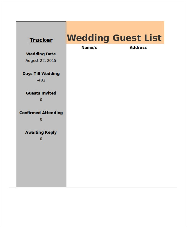 Wedding Guest List Tracker Template In Excel