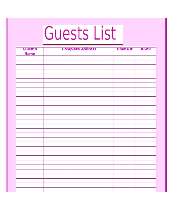 wedding guest list template 9 free word excel pdf documents download free premium templates. Black Bedroom Furniture Sets. Home Design Ideas