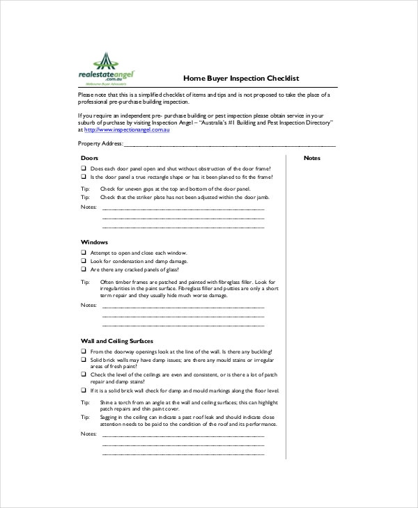 House Buyer Inspection Checklist