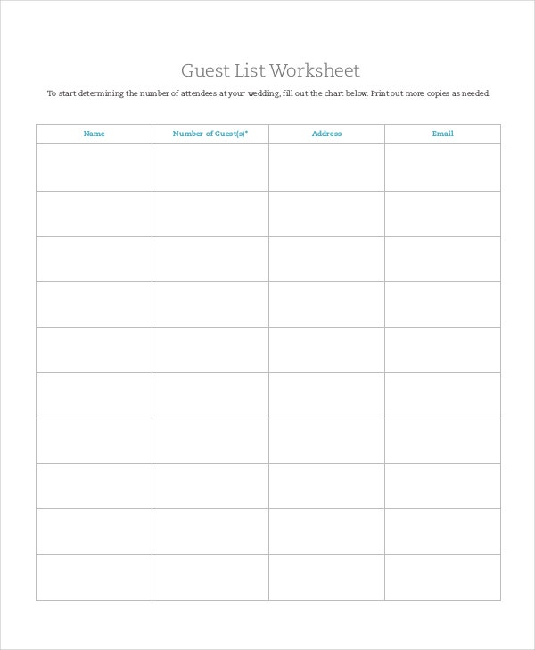 Worksheets Wedding Guest List Worksheet wedding guest list template 9 free word excel pdf documents worksheet template