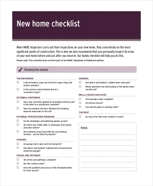 House inspection checklist 12 free pdf word download for New home building checklist