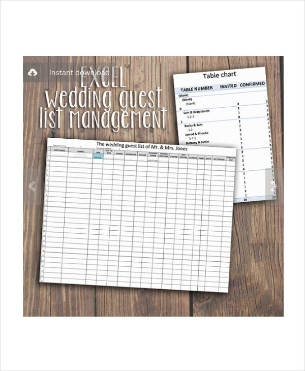 Wedding Guest List Template - 9+ Free Word, Excel, Pdf Documents