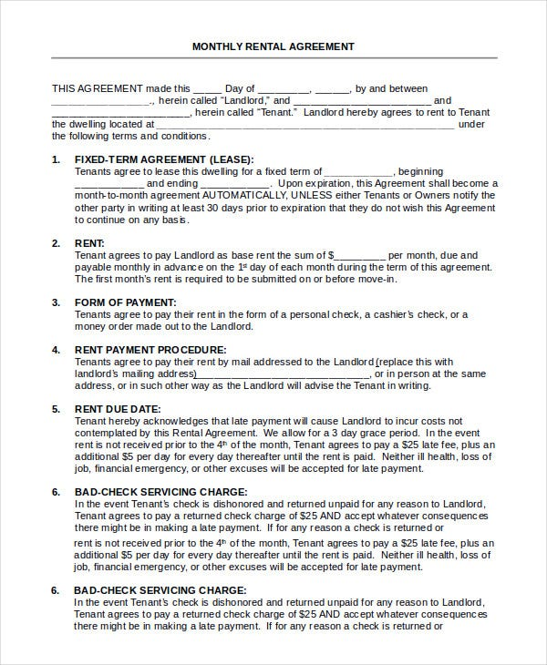 House Rental Agreement 11 Word Pdf Documents Download