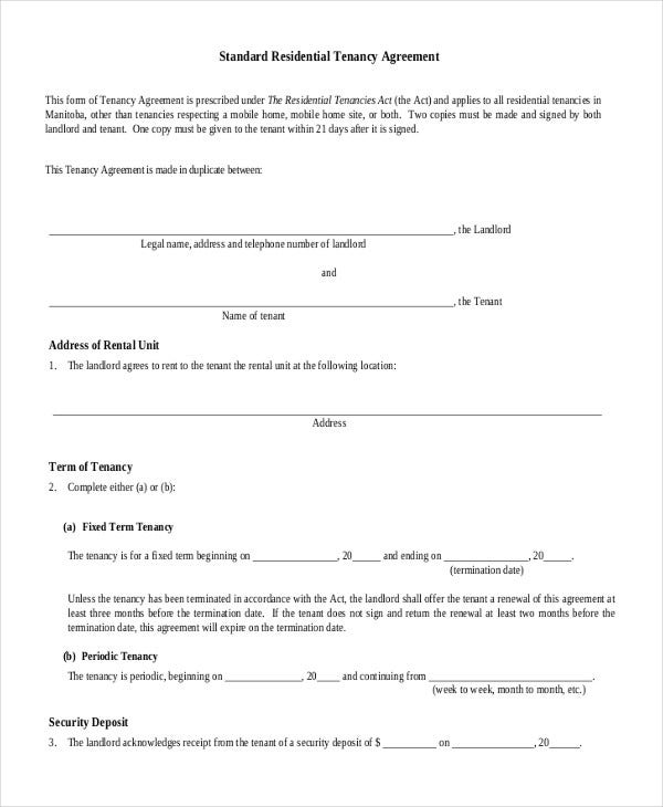 House rental agreement 10 word pdf documents download for Standard tenancy agreement template