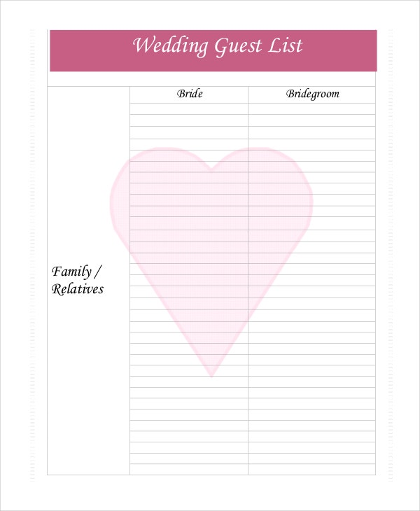 Blank Wedding Guest List Template  Printable Wedding Guest List Spreadsheet
