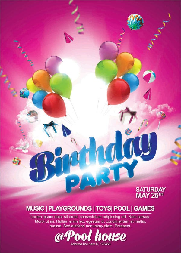 Printable Kids Party Flyer Template