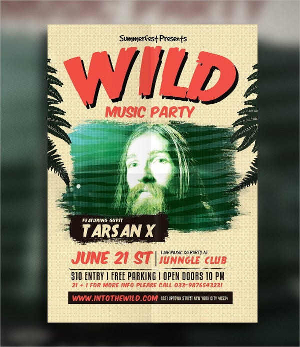 retro wild party flyer template