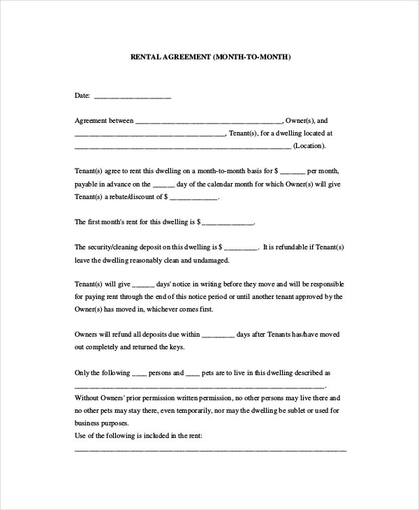 Rental Month To Month Lease Agreement