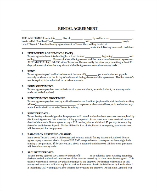 Month to month lease agreement 7 free pdf word for 12 month tenancy agreement template