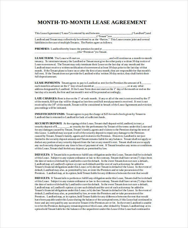 Month To Month Lease Agreement - 7+ Free Pdf, Word Documents