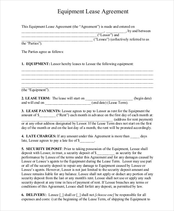 equipment lease agreement month to month