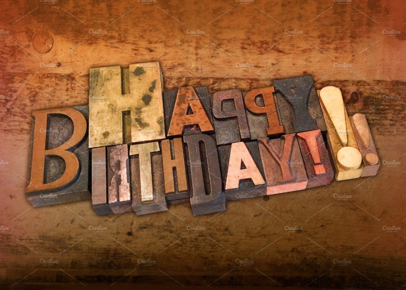letterpress happy birthday design