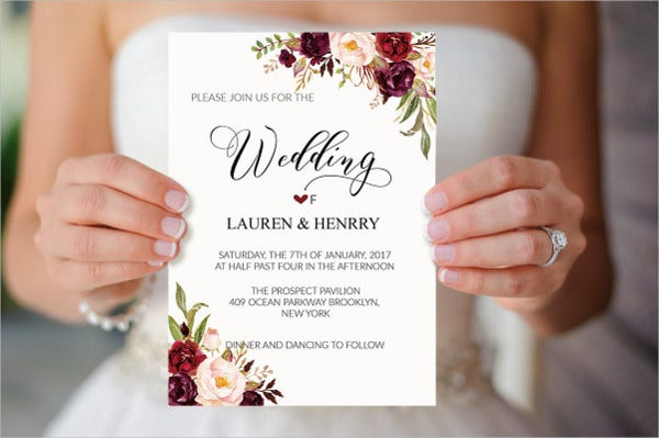 Beautiful Fl Wedding Invitation Template