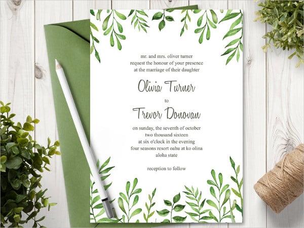 Green Watercolor Wedding Invitation Template