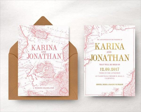 Vintage Map Wedding Invitation