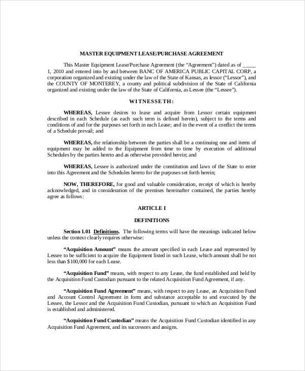 Equipment Lease Purchase Agreement  Lease To Buy Agreement Template