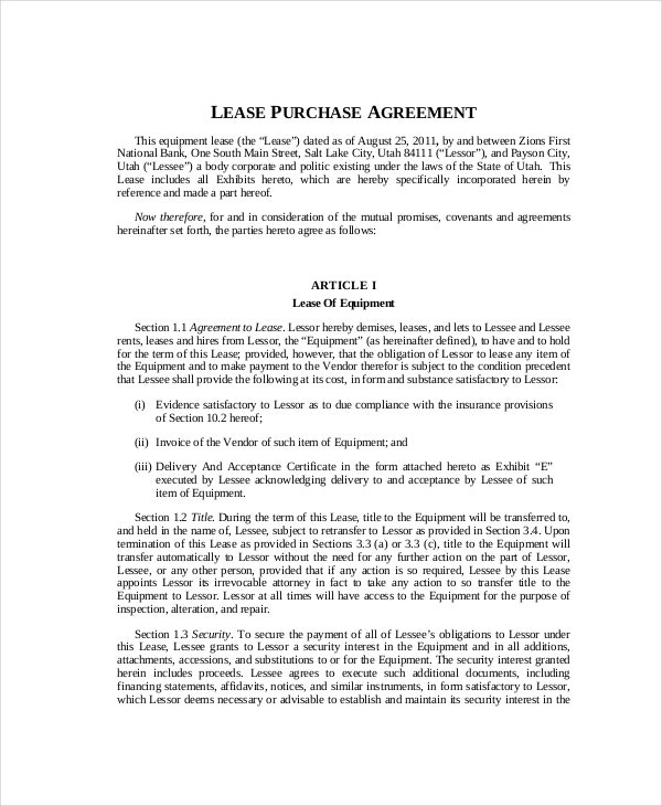 Blank Lease Purchase Agreement