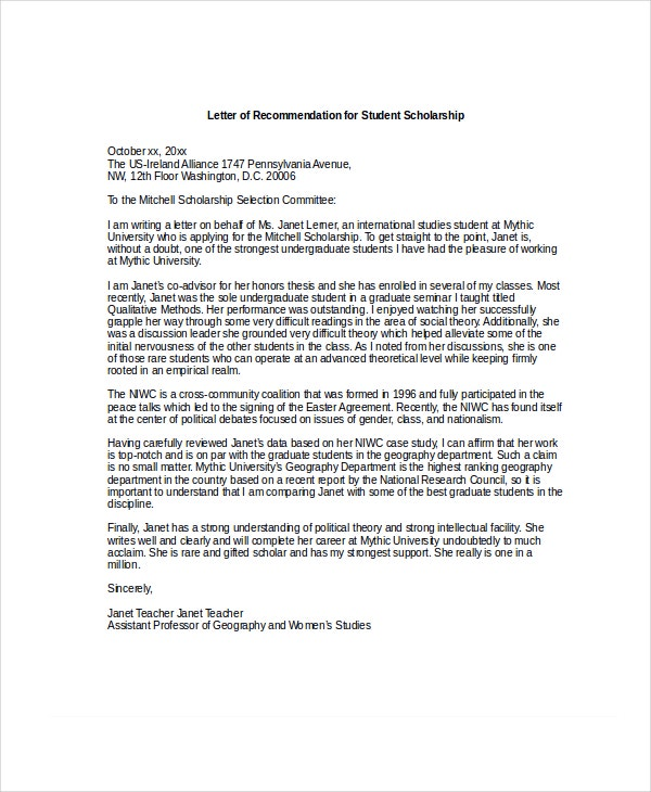 Captivating Letter Of Recommendation For Student Scholarship  Free Recommendation Letters