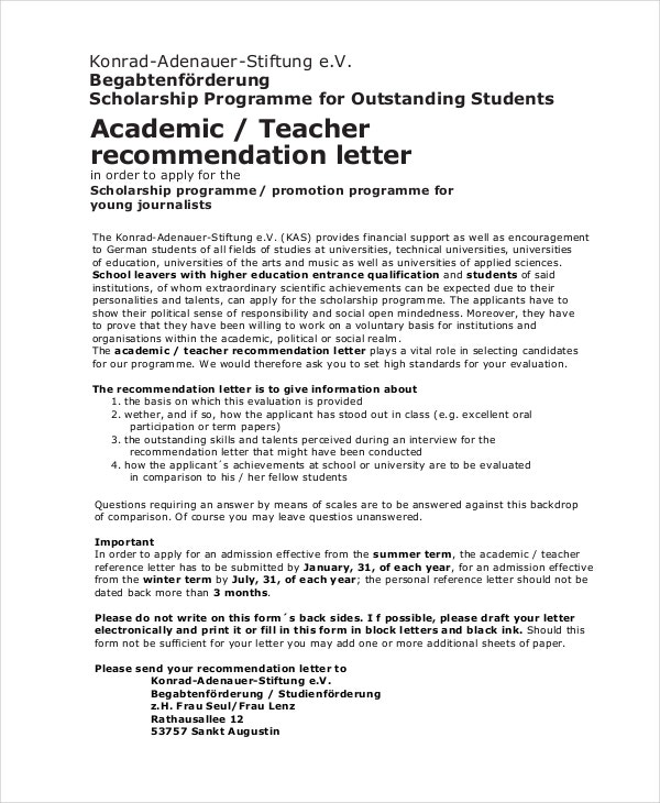 scholarship recommendation letter from teacher in pdf