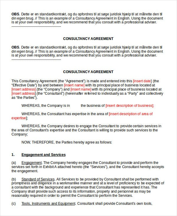 standard consulting agreement template - consulting agreement 11 free word pdf documents