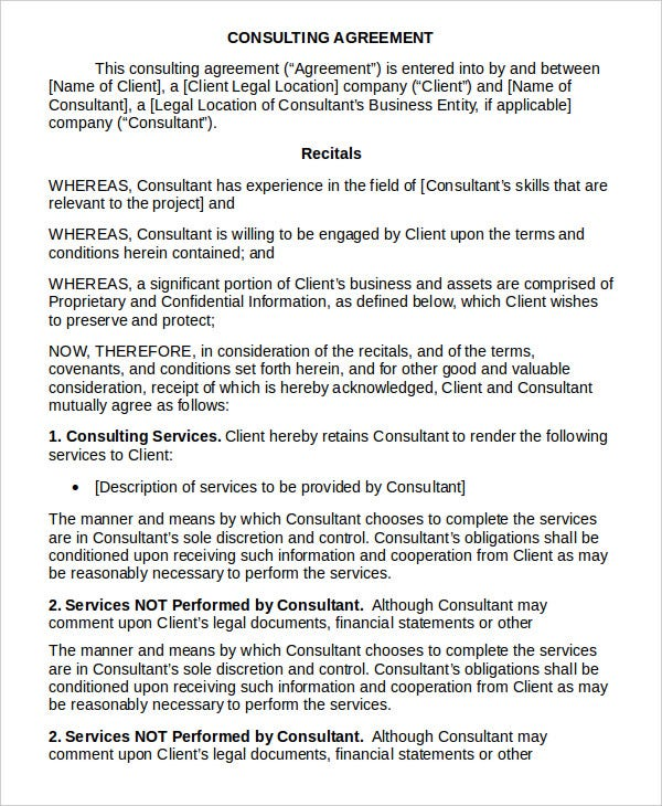 Consulting agreement 11 free word pdf documents for Consulting contracts templates