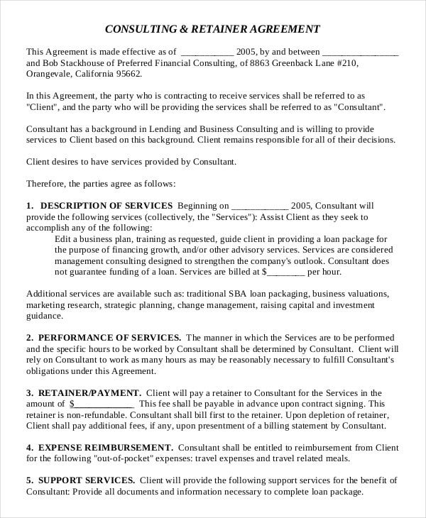 retainer agreement template uk - consulting agreement 11 free word pdf documents