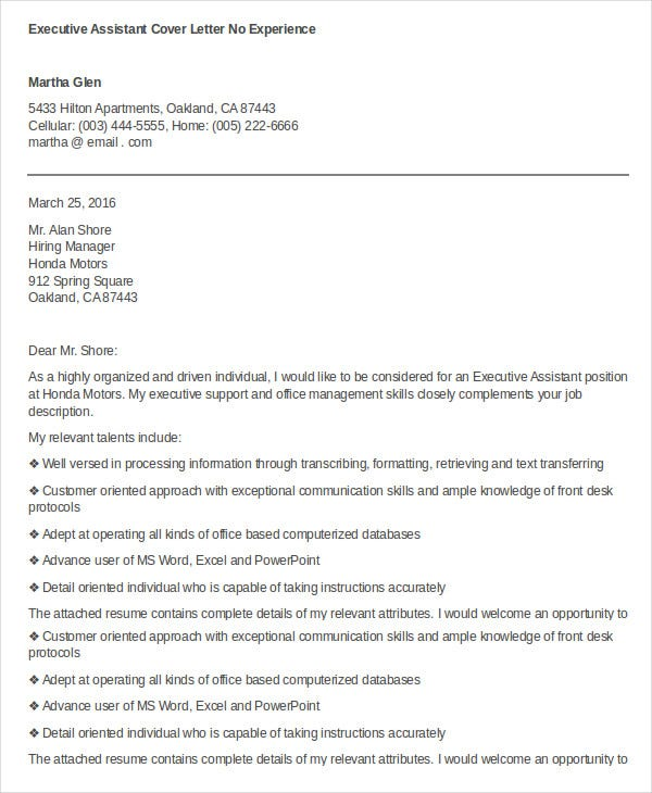 Executive Assistant Cover Letter No Experience Example  Executive Assistant Cover Letter