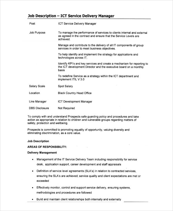 IT Delivery Manager Job Description