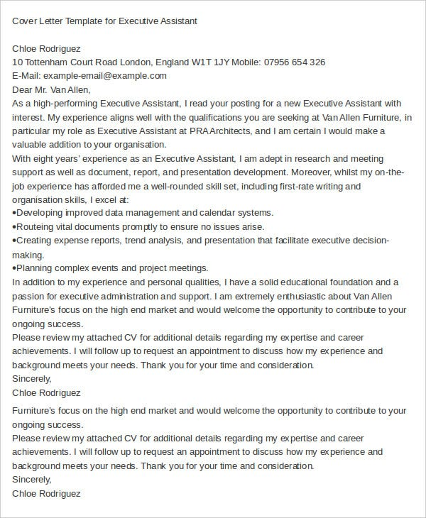 executive assistant cover letter example - Adminstrative Assistant Cover Letter