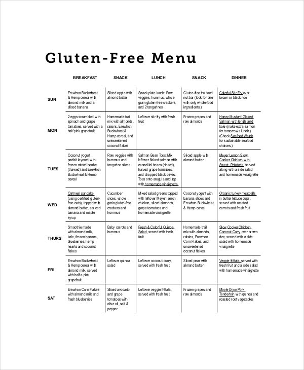 gluten weekly meal planner template