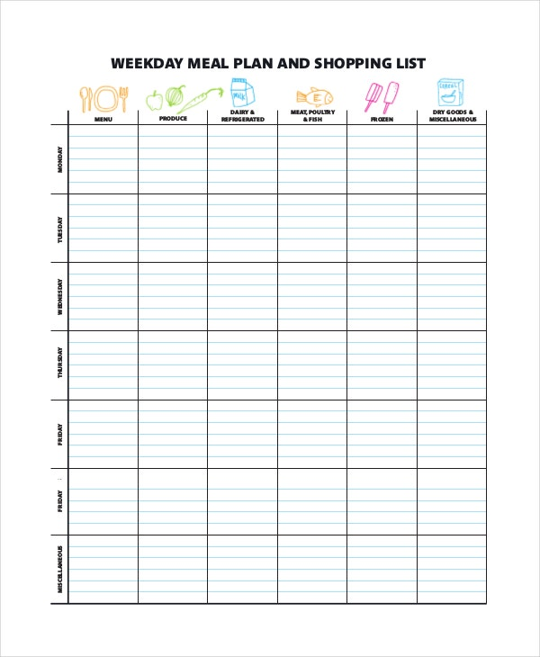 Weekly Meal Planner Template   Free Pdf Word Documents Download