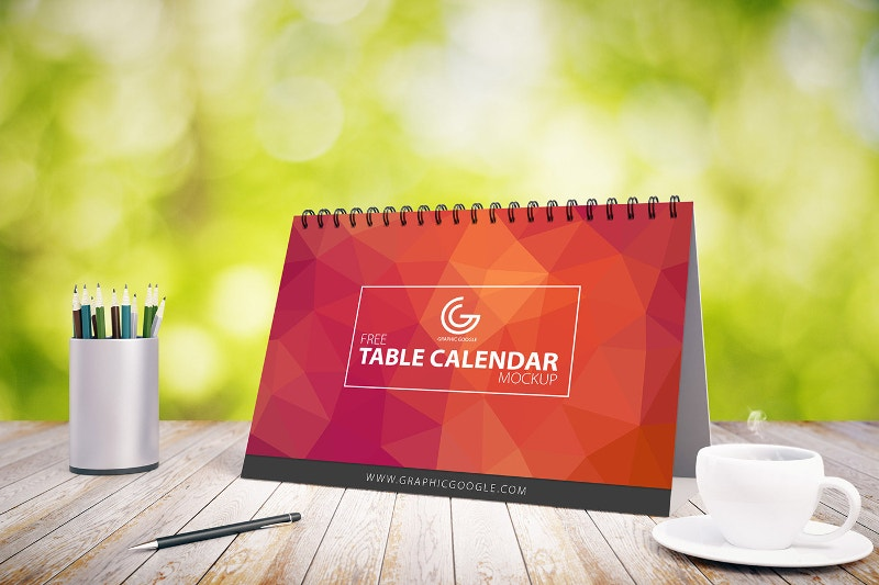 Free Table Calendar Mock-up For 2017