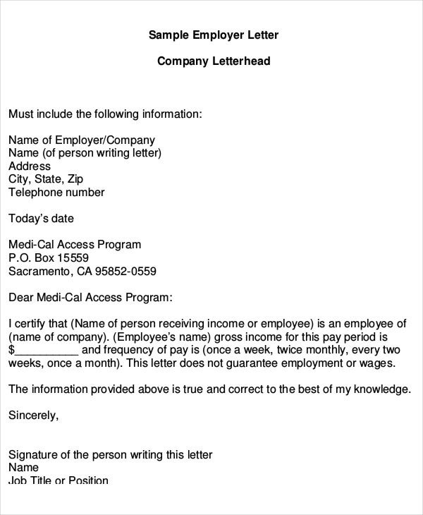 Employer Proof Of Income Letter