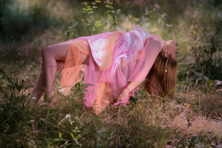 Pink Girl Levitation Photography