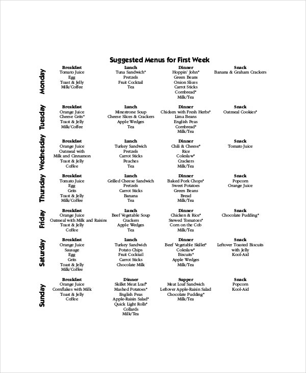Weekly Menu Template   Free Pdf Word Documents Download  Free