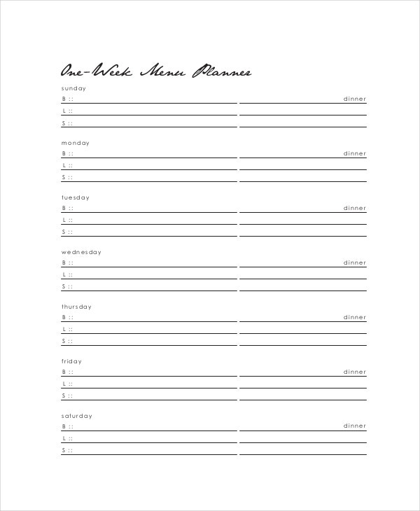 Weekly Dinner Menu Planner Template