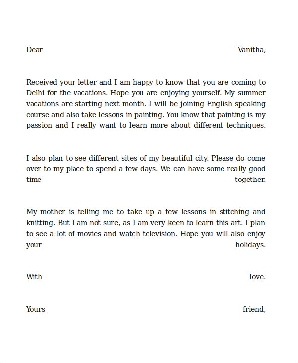 Vacation Friendly Letter Template