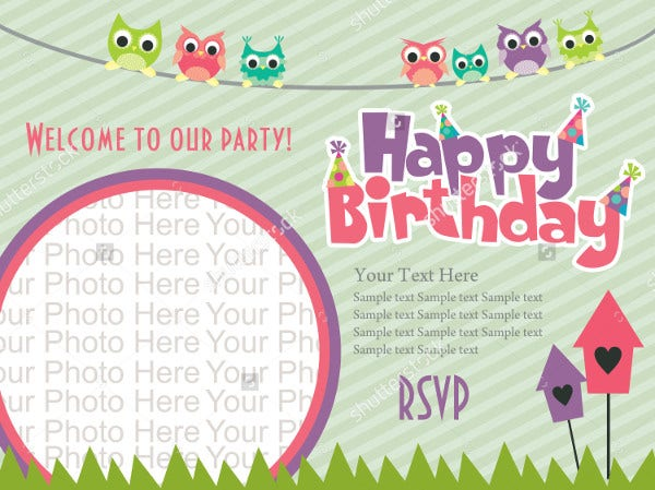 Beautiful Kids Birthday Invitations  Free Psd Eps Vector