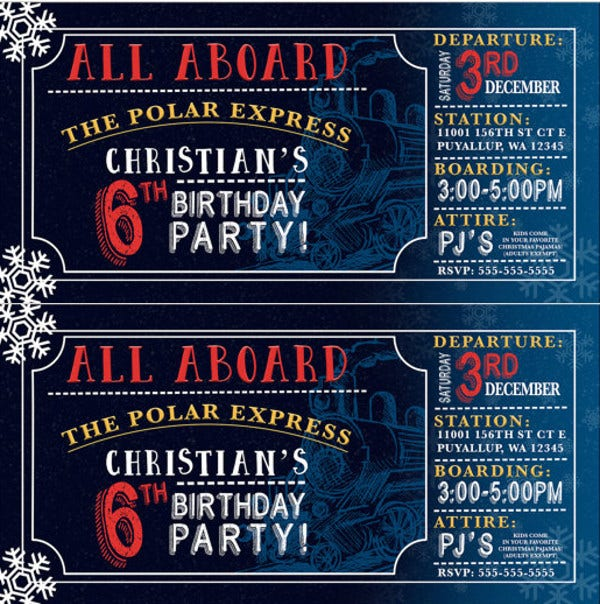 Polar Express Birthday Invitation