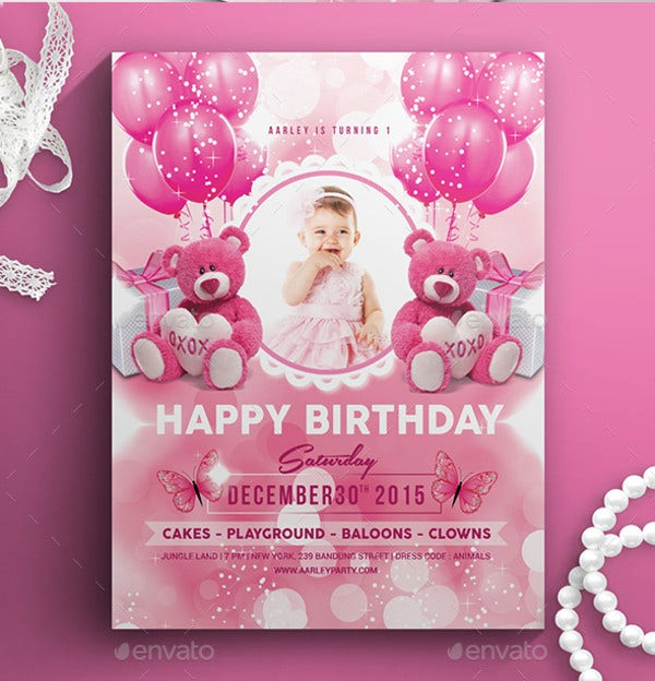 Pink Kids Birthday Invitation