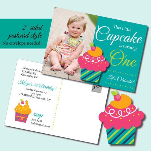 Kid's Cupcake Birthday Invitation