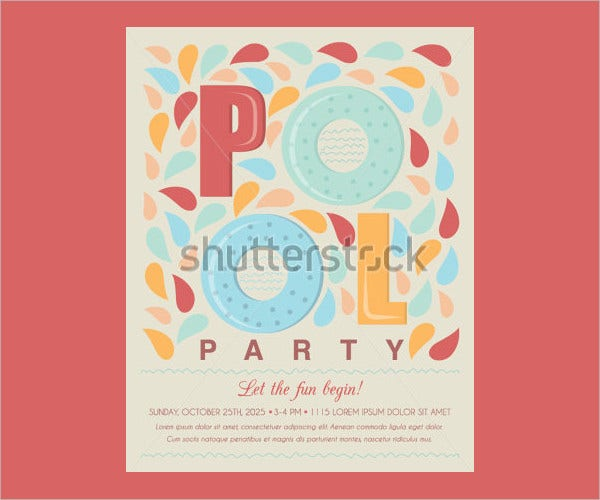 Beach Party Invitation Template Card