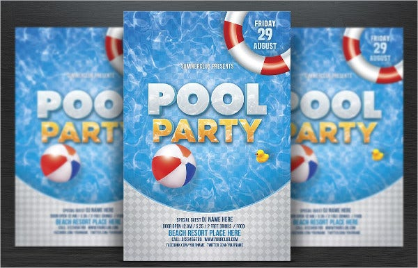Beach Pool Part Invitaion Template