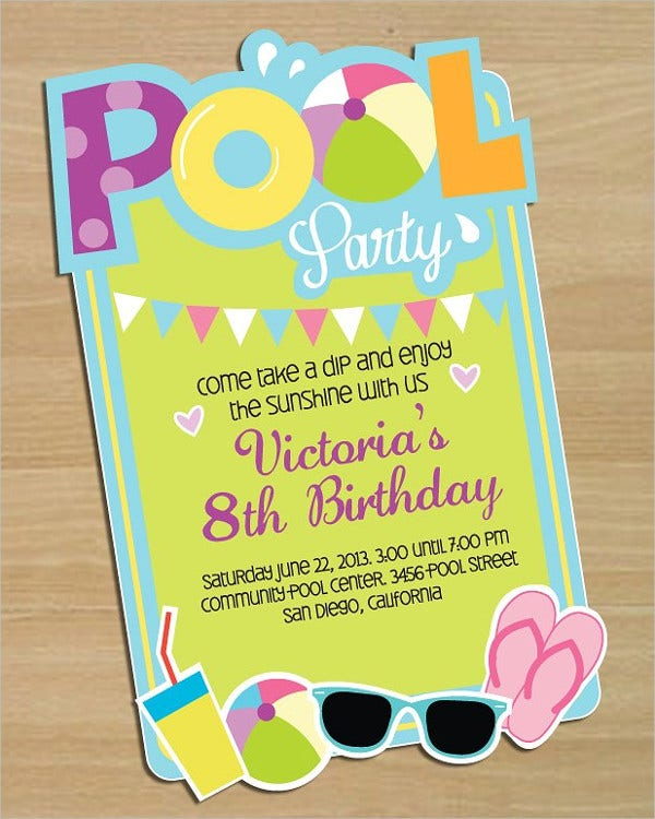 Birthday pool party invitations gangcraft pool party invitations free psd vector ai eps format birthday invitations stopboris