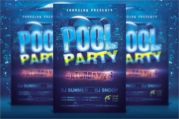 Club Pool Party Invitaion Template