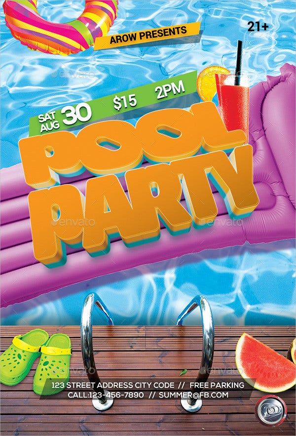 Float Pool Party Flyer Template