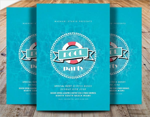 Minimal Pool Party Flyer Invitation Template